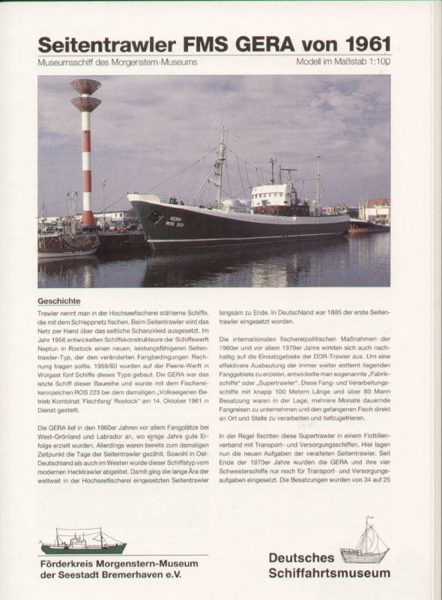 DSM Deutsches Schiffahrtsmuseum Seitentrawler FMS Gera von 1961-1:100